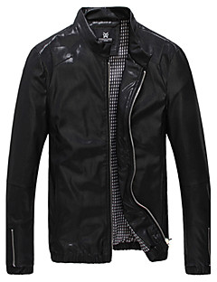 cheap Men's Furs & Leathers-Men's Daily Simple Casual Winter Fall Leather Jacket,Solid Stand Long Sleeve Regular