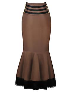 Χαμηλού Κόστους Φούστα σε στενή, ευθεία γραμμή-Γυναικεία Μεγάλα Μεγέθη Τρομπέτα / Γοργόνα Εξόδου Βαμβάκι Φούστες - Μονόχρωμο Δαντέλα