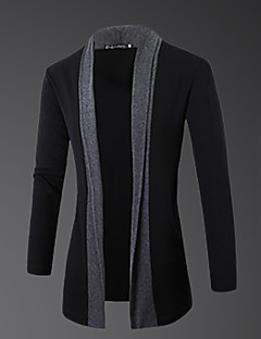 Men's Daily Casual Regular Cardigan,Color Block Round Neck Long Sleeves Wool Spring Fall Medium Micro-elastic