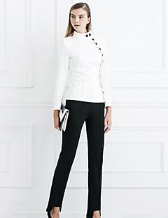 Eenvoudig-Katoen / Spandex-Rekbaar-Kostuum-Broek-Vrouwen