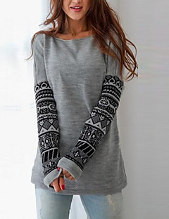 Women's Daily Casual Sweatshirt Print Round Neck Stretchy Cotton Long Sleeve Winter Fall