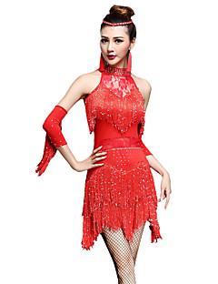 Shall We Latin Dance Dresses Women Performance Chinlon / Nylon Irregular Rhinestones / Tassel(s) 3 Pieces Dnce Costumes