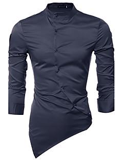 billige Herremote og klær-Bomull Klassisk krage Skjorte - Ensfarget Chinoiserie Herre