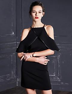 hesapli MASKED QUEEN®-Kadın's Kılıf / Little Black Elbise - Solid Boyundan Bağlamalı Diz üstü