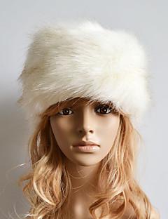 billige Trendy hatter-Dame Søtt Fritid Skilue,Vinter Ensfarget Fuskepels Beige Grå Brun