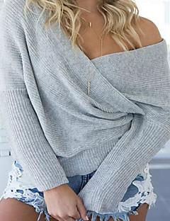 tanie Swetry damskie-Normalny Pulower Damskie Wyjściowe Codzienne Eleganckie Seksowna Jendolity kolor,Czerwony Biały Beżowy Czarny Szary Asymetryczny/aDługi
