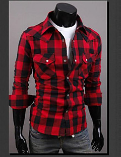 Men's Casual/Daily Street chic Spring Summer Shirt,Plaid Classic Collar Long Sleeves Cotton Thin