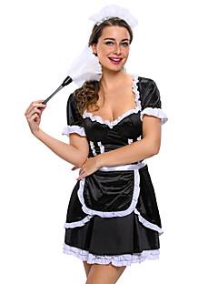 Siivujan asut ura Puvut Cosplay-Asut Juhla-asu Naiset Halloween Karnevaali Festivaali/loma Halloween-asut Musta/Valkoinen Yhtenäinen