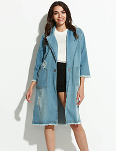 Χαμηλού Κόστους Denim Fashion-Γυναικεία Jachete Denim Απλός Καθημερινό-Μονόχρωμο