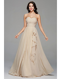 A-Line Sweetheart Floor Length Chiffon Bridesmaid Dress with Draping Side Draping by LAN TING BRIDE®