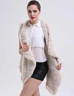 Women's Sophisticated Winter Fur Coat Sleeveless