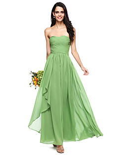 cheap Long Bridesmaid Dresses-A-Line Sweetheart Floor Length Chiffon Bridesmaid Dress with Ruched Criss Cross by LAN TING BRIDE®