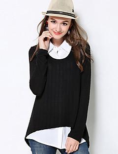 baratos Suéteres de Mulher-Feminino Padrão Pulôver,Casual Simples Sólido Colarinho de Camisa Manga Longa Algodão Poliéster Outono Média Micro-Elástica