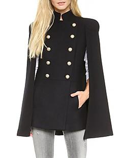 Dames Eenvoudig Winter Cloak / Capes,Casual/Dagelijks Opstaand-Mouwloos Zwart Effen Medium Polyester