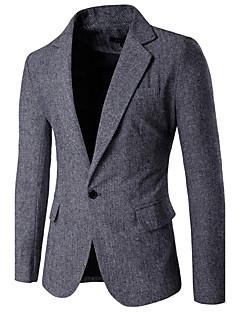 Herren Einfarbig Einfach Lässig/Alltäglich Arbeit Blazer,Hemdkragen Frühling Herbst Langarm Standard Baumwolle Acryl Polyester