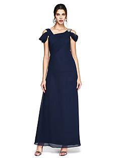 Coloană / Teacă Lungime Podea Șifon Bal Seară Formală Rochie cu Mărgele Drapat Părți Pliuri de TS Couture®