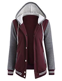 baratos Moletons com Capuz e Sem Capuz Femininos-Activo Algodão Jacket Hoodie Estampa Colorida / Outono / Inverno