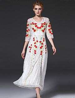 Kadın Günlük/Sade Vintage Salaş Elbise Nakışlı,½ Kol Uzunluğu V Yaka Maksi Beyaz Pamuklu / Naylon Tüm Mevsimler Normal Bel Esnemez Orta