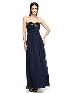cheap Special Occasion Dresses-A-Line Spaghetti Straps Floor Length Chiffon Sequined Bridesmaid Dress with Draping Ruched Criss Cross by LAN TING BRIDE®