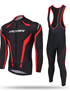 cheap Cycling Jersey & Shorts / Pants Sets-XINTOWN Men's Long Sleeves Cycling Jersey with Bib Tights - Black Bike Bib Tights Jersey Pants / Trousers Clothing Suits, Thermal / Warm,