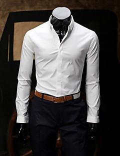 billige Herremote og klær-Bomull Medium Langermet,Skjortekrage Skjorte Ensfarget Vår Høst Enkel Fritid/hverdag Arbeid Herre