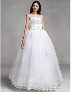 billiga Balbrudklänningar-Balklänning Axelbandslös Golvlång Spets Bröllopsklänningar tillverkade med Rosett / Bård / Applikationsbroderi av LAN TING BRIDE®