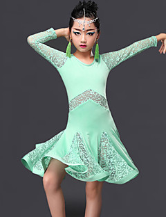 cheap Kids' Dancewear-Latin Dance Dresses Performance Milk Fiber Lace Ruffles Long Sleeves Dress