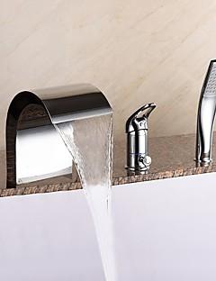 billige Sidesray-Badekarskran - Moderne Krom Udspredt Keramisk Ventil Bath Shower Mixer Taps / Messing / Enkelt håndtak tre hull