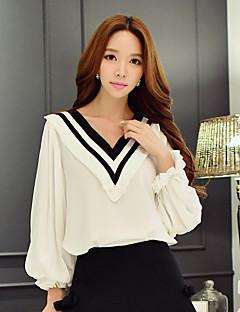 Majica Žene,Slatko / Ulični šik / Sofisticirano Izlasci / Ležerno/za svaki dan / Vjenčanje Color block-Dugih rukava V izrez-Proljeće /