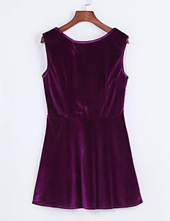 여성의 바디콘 드레스 클럽 섹시 솔리드,라운드 넥 미니 민소매 블루 / 레드 / 퍼플 폴리에스테르 여름