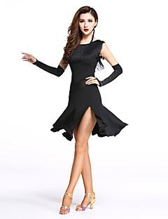 私たちはラテンダンスドレス女性スパンデックス/スプリット/タッセルダンスの衣装をしなければならない