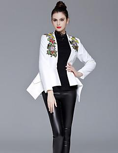 女性 カジュアル/普段着 秋 / 冬 刺しゅう ジャケット,シンプル ディープVネック ホワイト ポリエステル 長袖