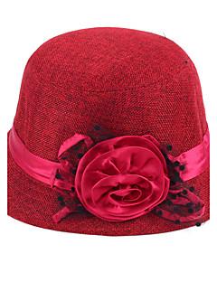 Kadın Günlük Keten Melon Şapka,Bahar Sonbahar Bej Kahverengi Kırmzı