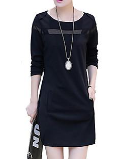 baratos -Feminino Reto Vestido,Informal / Casual Moda de Rua Retalhos Decote Redondo Acima do Joelho Manga Longa Preto / Cinza Algodão / Poliéster