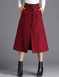 Women's Casual/Daily Midi Skirts,Simple A Line Solid All Seasons