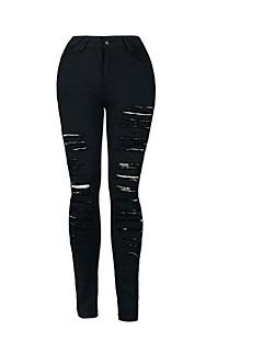 preiswerte Zerrissen-Damen Hohe Hüfthöhe Skinny Eng Jeans Hose Solide