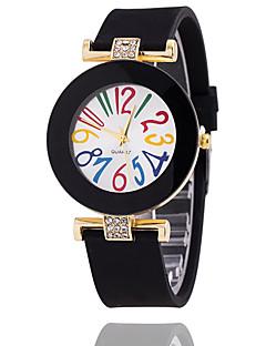 billige Armbåndsure-Dame Armbåndsur Hot Salg Silikone Bånd Vintage / Afslappet / Mode Sort / Hvid / Blåt