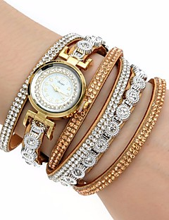 billige Armbåndsure-Dame Quartz Armbåndsur Farverig Imiteret Diamant PU Bånd Vedhæng Luksus Glitrende Vintage Afslappet Bohemisk Mode Sej Armring Sort Hvid