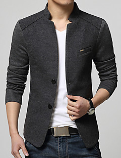 cheap Men's Blazers & Suits-Men's Daily Street chic Spring / Fall Plus Size Regular Blazer, Solid Colored Stand Long Sleeve Cotton / Acrylic / Polyester Gray / Navy Blue / Wine XL / XXL / XXXL / Business Casual / Slim