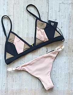 billige Bikinier og damemote 2017-Dame Fargeblokk Rosa Bikini Badetøy - Fargeblokk Moderne Stil S M L / Sexy