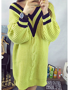Women's Casual/Daily Simple Cute Long Pullover,Solid V Neck Long Sleeves Acrylic Fall Winter Medium Micro-elastic