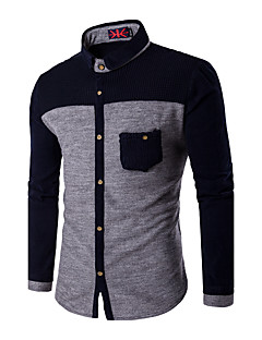 Men's Daily Casual Fall Shirt,Color Block Classic Collar Long Sleeves Cotton Thin