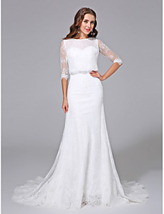 cheap Beach & Honeymoon Dresses-Mermaid / Trumpet Scoop Neck Court Train Satin Lace Over Tulle Custom Wedding Dresses with Beading by LAN TING BRIDE®