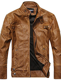 Men's Casual/Daily Casual Leather Jacket