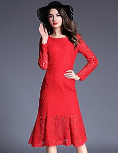 סתיו כותנה / פוליאסטר אדום / שחור שרוול ארוך עד הברך צווארון עגול אחיד / דפוס סגנון רחוב יום יומי\קז'ואל שמלה נדן נשים,גיזרה גבוהה
