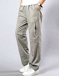 billige Herrebukser-Herre Plusstørrelser Bomuld Løstsiddende Chinos Bukser Ensfarvet