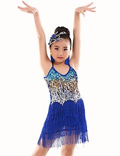cheap Kids' Dancewear-Belly Dance Leotards Performance Polyester Sequin Tassel Sleeveless Natural Leotard / Onesie