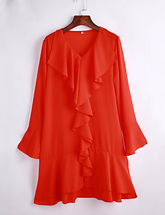 Women's Casual/Daily Street chic Chiffon Dress,Solid V Neck Above Knee Long Sleeve Orange Polyester Summer
