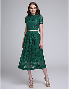 cheap Green Glam-A-Line Two Piece Jewel Neck Tea Length All Over Lace Bridesmaid Dress with Lace by LAN TING BRIDE®