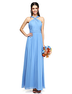 cheap Imperial Blue-A-Line Halter Y-Neck Floor Length Chiffon Bridesmaid Dress with Sash / Ribbon Ruched Criss Cross by LAN TING BRIDE®